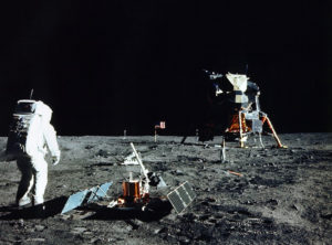 Apollo 11 lands on the moon