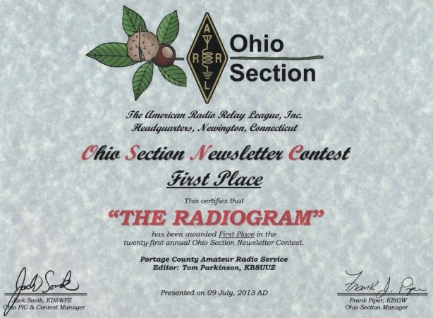 First place in the Ohio Section Newsletter Contest