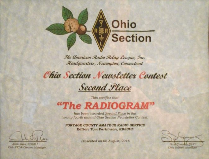 Second place in the Ohio Section Newsletter Contest